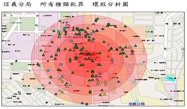 「犯罪資料庫」各類犯罪點位示意圖(台北市政府提供)