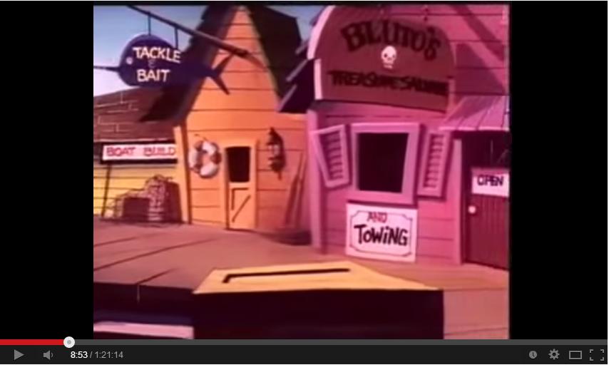 卡通裡沿海的彩色房子。(翻攝自Youtube畫面)
