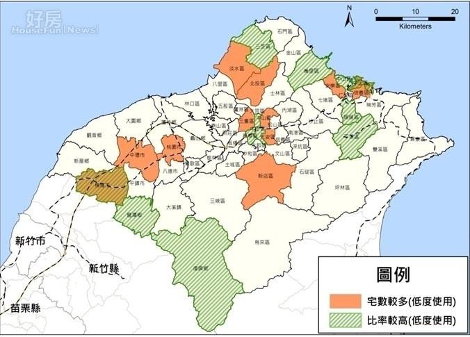 北、北、基、桃的低度使用住宅比例及數量。(營建署提供)