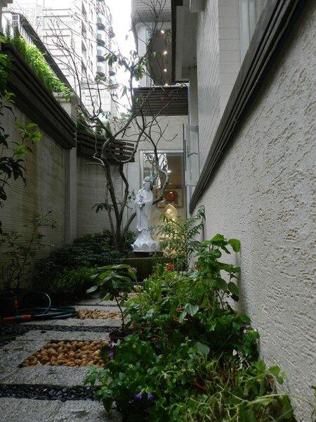 2.室內室外加起來坪數大約100坪,戶外還有個L型的花園,彭立以雕像和綠色植栽造景。