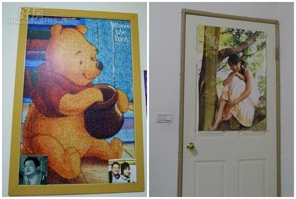5.小熊維尼是他最喜歡的卡通人物。 6.門上高掛的是林依晨個人的大海報,相當醒目。