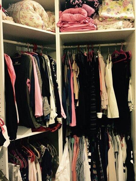 5.更衣室裡擺滿了衣服,都是愷樂工作的戰服。
