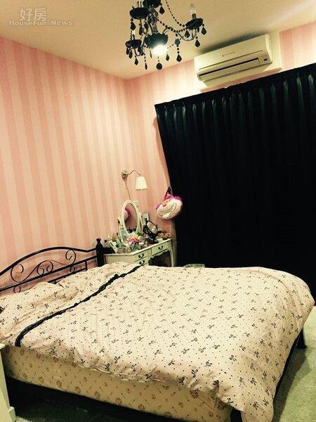 4.愷樂最愛主臥室裡的粉紅大床,能讓她放輕鬆。