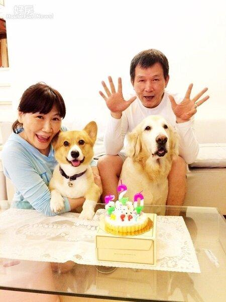 2.Tina與老公在演藝圈是岀了名的愛狗成癡,還特地為愛犬慶生。