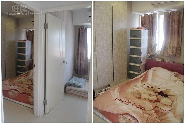 3.一大一小的房間可是水泥隔間,隔音效果佳。 4.主臥不大,但有成排的衣櫃可收納。