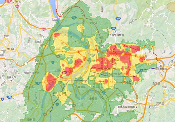 台北、高雄部分土壤液化「紅色警戒區」,剛好也是水的區域。(圖/擷取自土壤液化潛勢地圖)