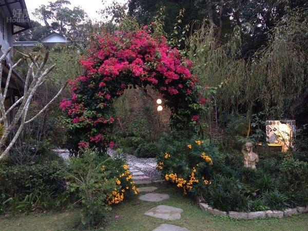 2.拱形花架種植九重葛,開展祕密花園。