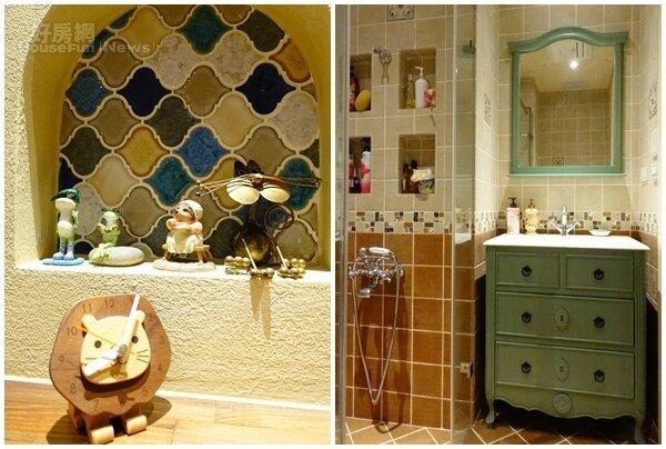 7.包括客廳、浴室等空間牆面皆可見到挖洞設計,可用來放置一些物品。 8.浴室裡就連鏡子、洗手台等傢俱挑選也不馬虎。