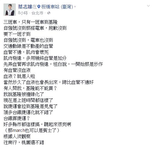 包租公律師蔡志雄在臉書上指出,基隆因交通問題而被邊緣化了。(圖/擷取自蔡志雄臉書)