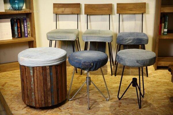 12.D-Bodhi的工業風椅子,不論是木料或牛仔布都是回收再利用的產品。價格帶在5,000元~8,000元之間。