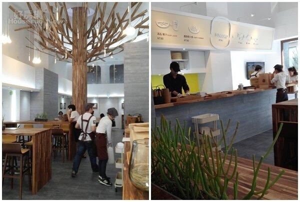 3.高聳大樹以相思木手工拼接而成,是店內最大的亮點。 4.店內多依木質傢俱為主,點餐檯配色清爽明亮。