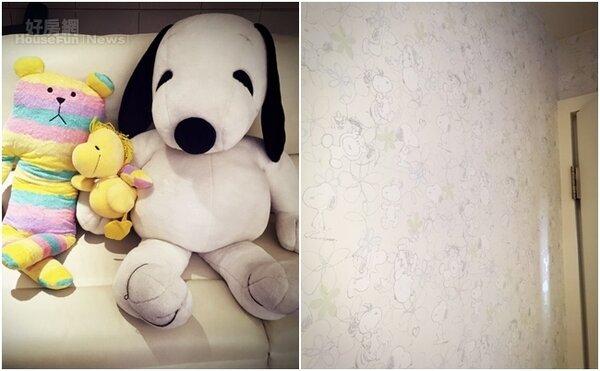 7.夢琪把最愛的史努比處處打造於她優雅的家中,甚至有一間房間用立體的史努比壁貼佈置。