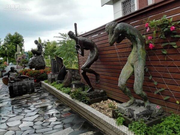 8.室外庭院是收藏雅石與雕塑品擺放的好所在。