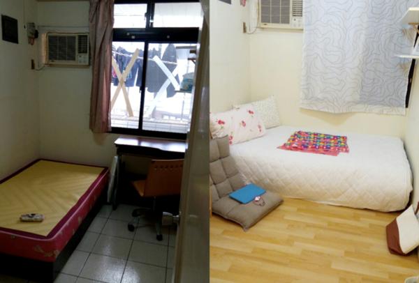 這是同一個房間!小資女巧手改造2坪雅房,讓網友嘖嘖稱奇。(翻攝自PTT)