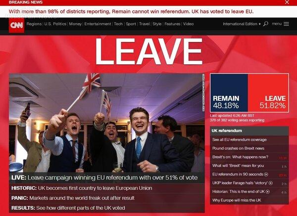 CNN 首頁大大的標題「LEAVE」,英國脫歐成功!(翻攝CNN網頁)