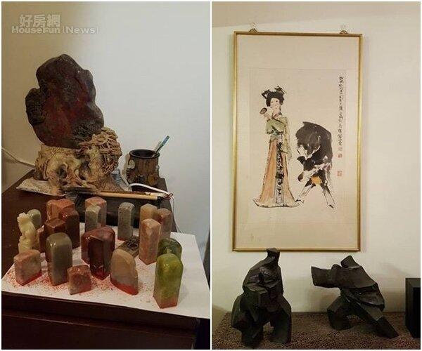 6.張尚為收藏的印章。 7.收藏古畫與雕刻作品。
