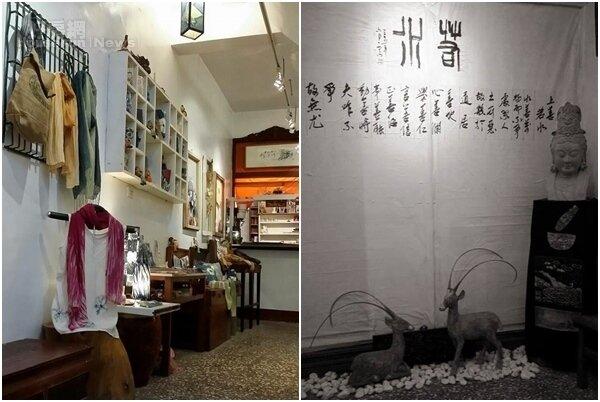 4.一樓是工作室及展示空間,展示許多藝術創作。 5.藝文空間牆上有著上善若水的字畫。