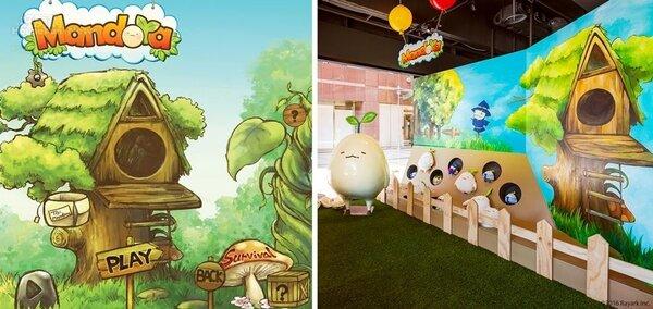 3.可愛的《Mandora》遊戲中的主場景(左),也忠實呈現在概念店門口(右)。