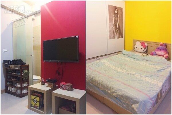 為了活用空間,小普特地把所有傢俱靠牆擺,客廳與床舖之間不特別做區隔,以換取更寬敞空間