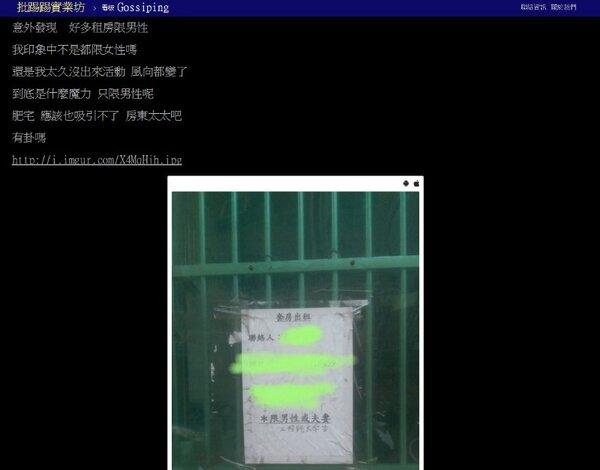 竹科租屋市場多「限男性」,讓網友驚呼,什麼時候風向變了(圖/翻攝自ptt)