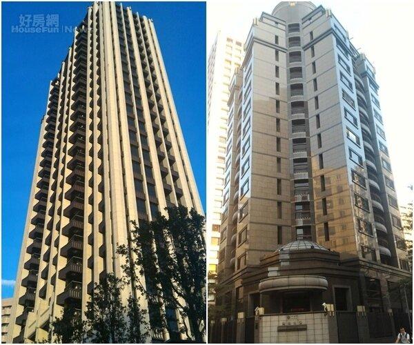 2.「敦南寓邸」樓高26層,位於敦南街內,遠望高聳氣派。(左) 6.「敦南之翼」坐落在敦化南路2段巷弄內。(右)