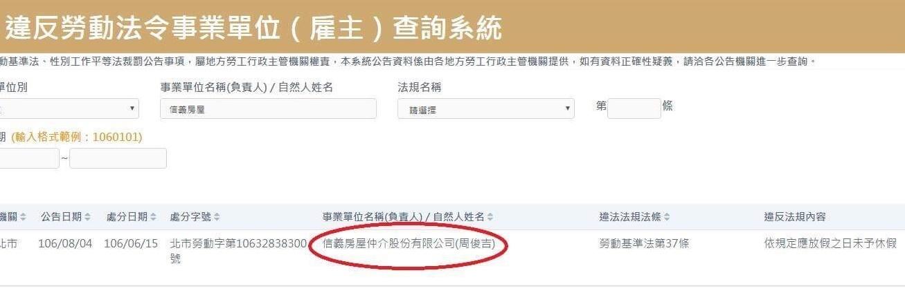信義房屋違規上榜(圖/擷取自勞動部「違法雇主查詢系統」)