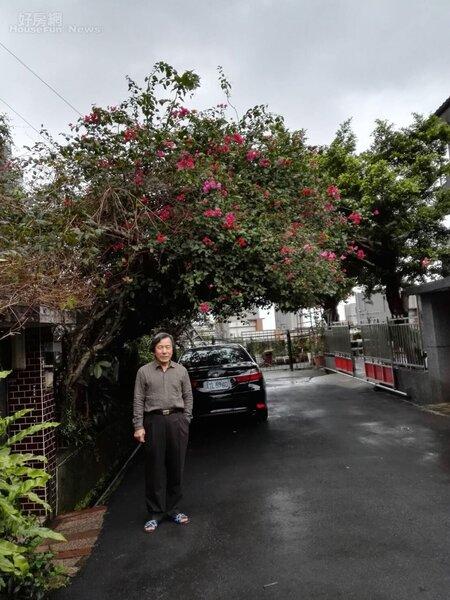 2.王南雄住家位在淡水自強路靜巷,門口花木扶疏。