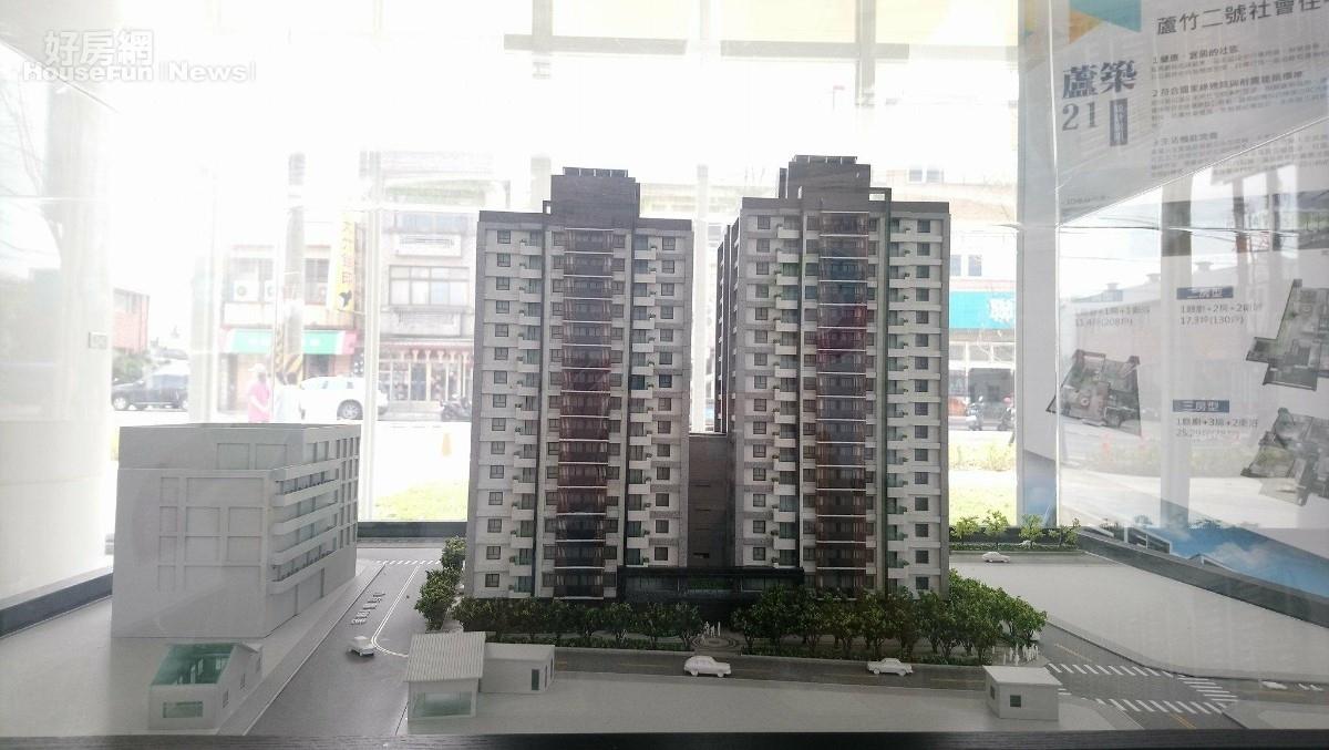 蘆竹二號社宅 與旁邊社會住宅展示館 模型(好房網News記者王思云/攝影)
