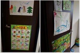 兩扇房門上都是喜歡畫畫的兒子的作品,獨一無二,是最好的裝飾品。