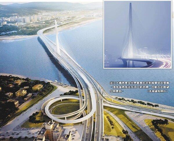 淡江大橋將是全世界最長的非對稱單塔斜張橋。落成後將成淡水河口新地標,也能在此眺望夕照景致。(本報資料照片)