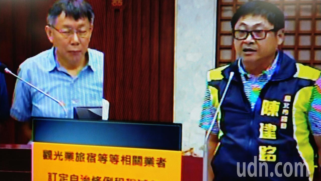 台北市長柯文哲下午在市議會總質詢。記者楊正海/攝影