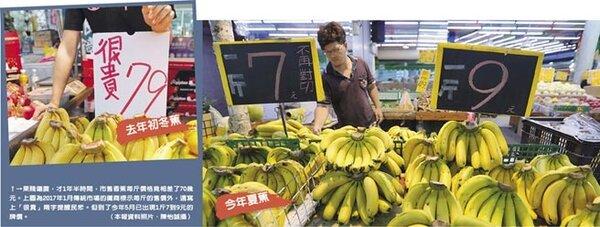 果賤傷農,才1年半時間,市售香蕉每斤價格竟相差了70幾元。左圖為2017年1月傳統市場的攤商標示每斤的售價外,還寫上「很貴」兩字提醒民眾。但到了今年5月已出現1斤7到9元的牌價。(本報資料照片、陳怡誠攝)