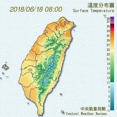 台灣今天溫度概況。圖╱翻攝自氣象局官網
