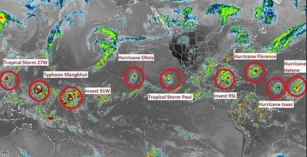 Jamaica Weather提供的照片顯示,北半球颱風、颶風和熱帶氣旋總共多達9個。取自推特