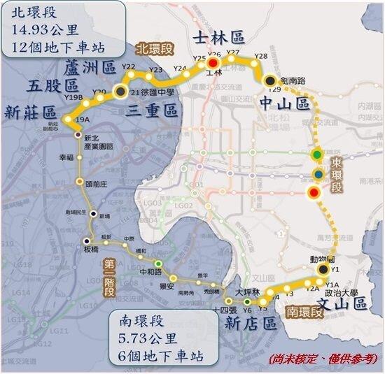 環狀線北環段及南環段路線說明。(圖/北捷)