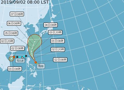 玲玲颱風生成,將在周三、周四最接近台灣。