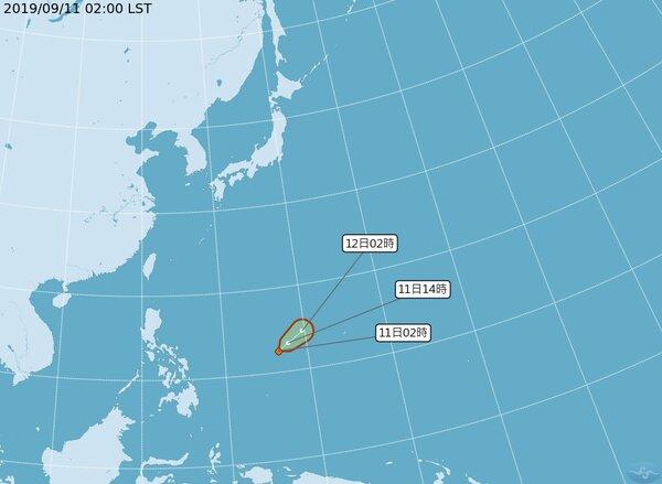 最新中央氣象局路徑潛勢預測圖顯示,今晨2時位於菲律賓東方海面的熱帶雲系,已發展為熱帶低壓,向東北東移動;今、明兩天就有發展成颱風的機率。圖/取自氣象局網站