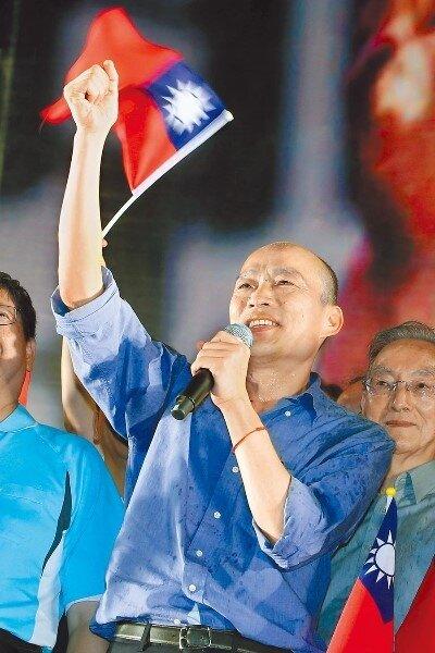 多家民調顯示,高雄市長韓國瑜是國民黨最強棒,最有希望在2020年贏得勝選。圖為韓國瑜參加新竹造勢活動,首次呼籲民眾7月8日起一周守著電話,唯一支持韓國瑜。(中時資料照片)