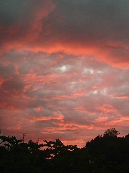 南投縣埔里鎮天空近日出現「禪定坐佛」、火燒雲等特殊雲景,氣象站證實也是颱風來襲所致。圖/黃姓民眾提供
