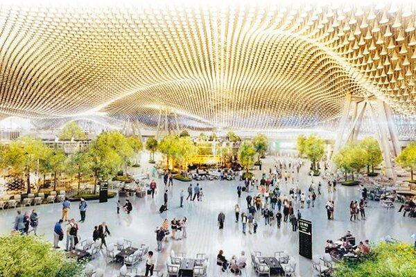 桃園國際機場第三航廈主體工程,今年開標兩次都流標,桃園國際機場公司將檢討變更設計,將評估原本在出境大廳天花板上的13萬朵花瓣造型鋁管,是否捨棄。 (桃機公司提供)
