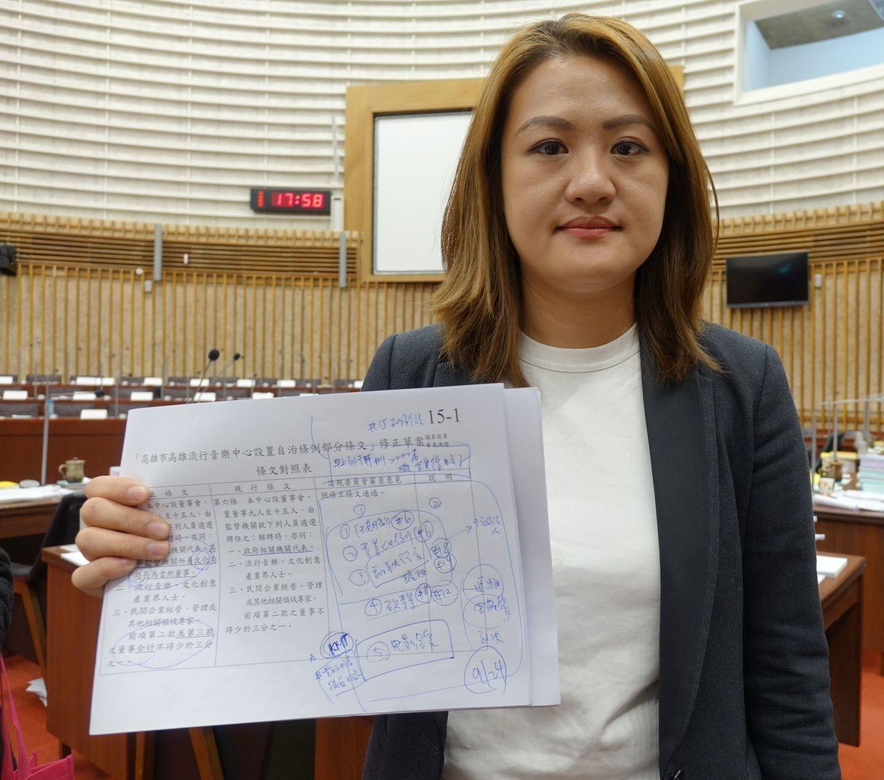 民進黨籍高雄市議員高閔琳嚴格把關「高雄流行音樂中心設置自治條例」部分條文修正案。 記者楊濡嘉/攝影
