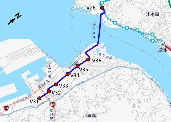 八里輕軌路線圖。圖/新北市捷運局提供