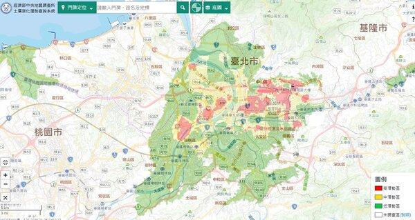 歷經4年時間,經濟部統整出全台土壤液化潛勢圖。圖/截自中央地質調查所