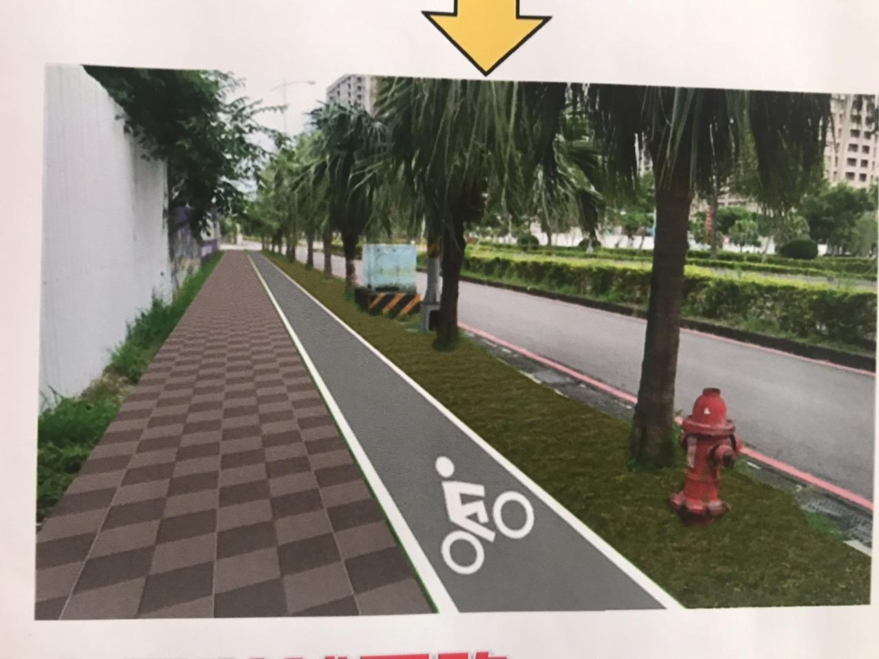 徐國勇指出,這項工程將看不到電桿、以人為本讓自行車道獨立出來。記者郭政芬/攝影