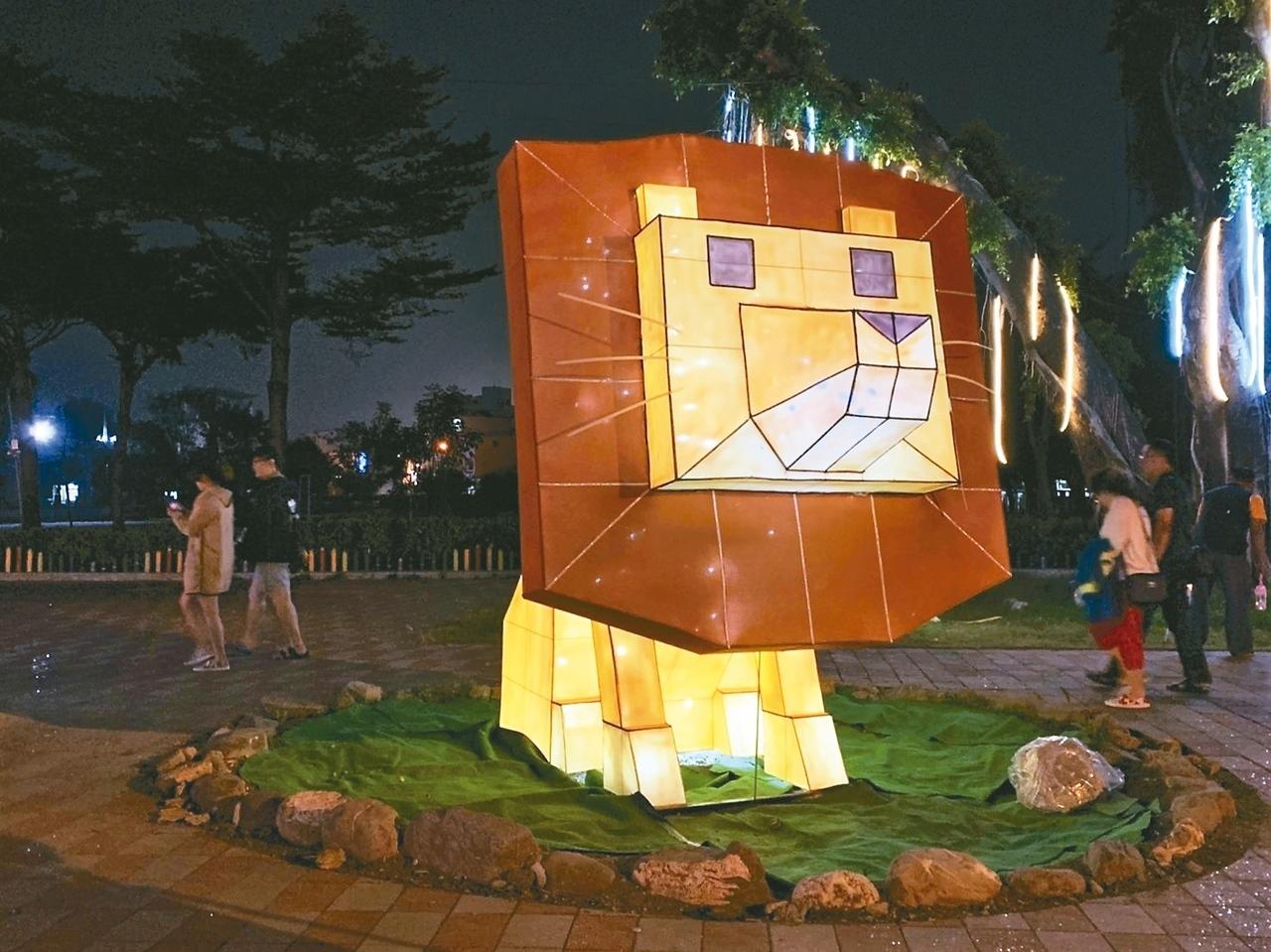 屏東綵燈節,今年推出「動物森林派對」,萬年溪畔猶如夜間動園。記者翁禎霞/攝影