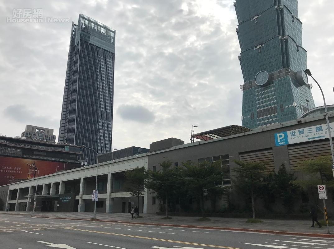 世貿三館基地鄰近台北101大樓和南山廣場大樓。好房網News記者李彥穎攝