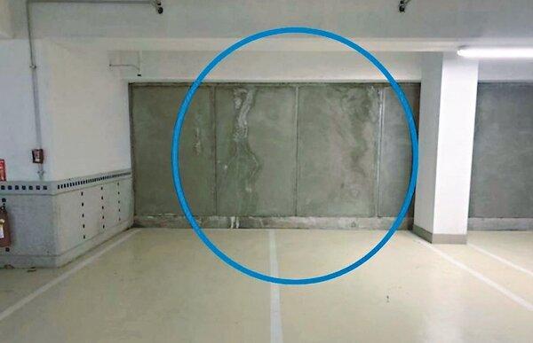 台南市東區的南鐵照顧住宅才完工1年多,連續壁已開始漏水。 圖/台南市議員王家貞提供