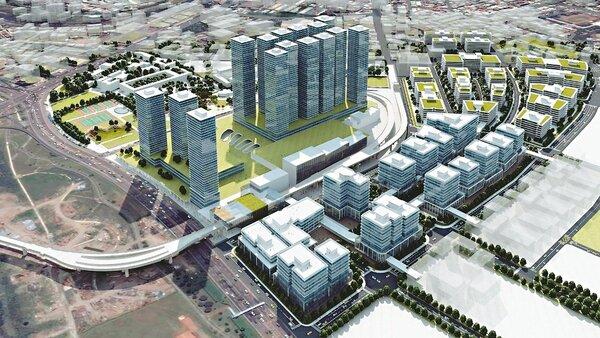 新店十四張區段徵收案位於捷運環狀線十四張站周邊,將打造新店新興生活圈(示意圖)。 圖/新北地政局提供