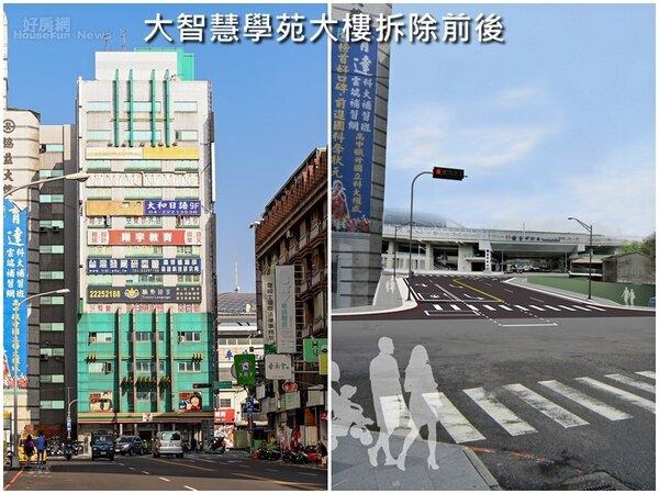 台中火車站前大智慧學苑大樓拆除之後,大智路開通將能疏導火車站前塞車問題(台中市政府提供)