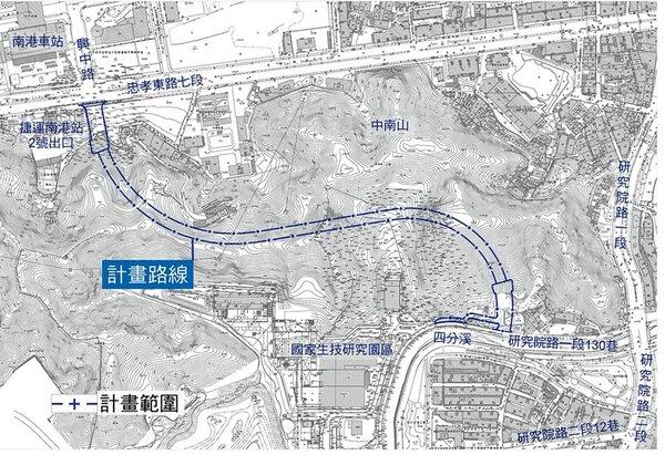國家生技研究園區聯外道路,通過北市都委會審議,最快2024年啟用通車。圖/台北市新工處提供